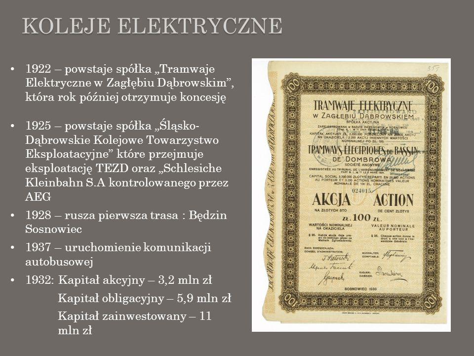 KOLEJE ELEKTRYCZNE 1922 – powstaje spółka Tramwaje Elektryczne w Zagłębiu Dąbrowskim, która rok później otrzymuje koncesję 1925 – powstaje spółka Śląs