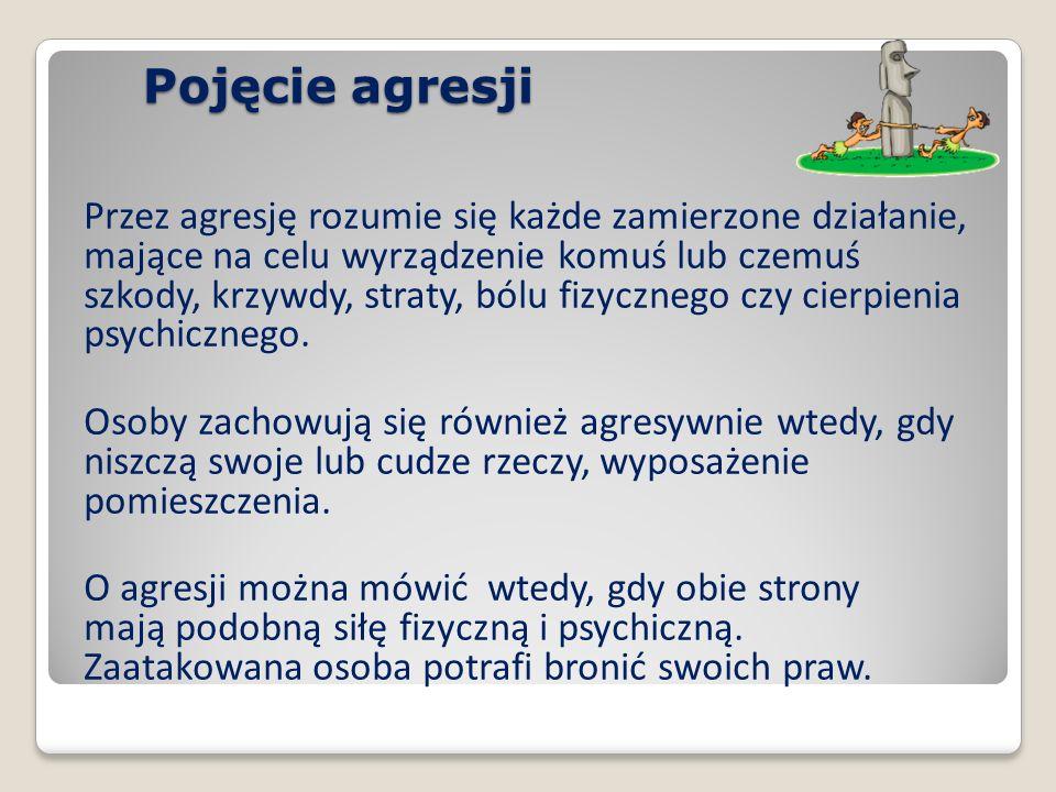 W pojęciu agresji zawsze akcentowane są dwa zasadnicze elementy.