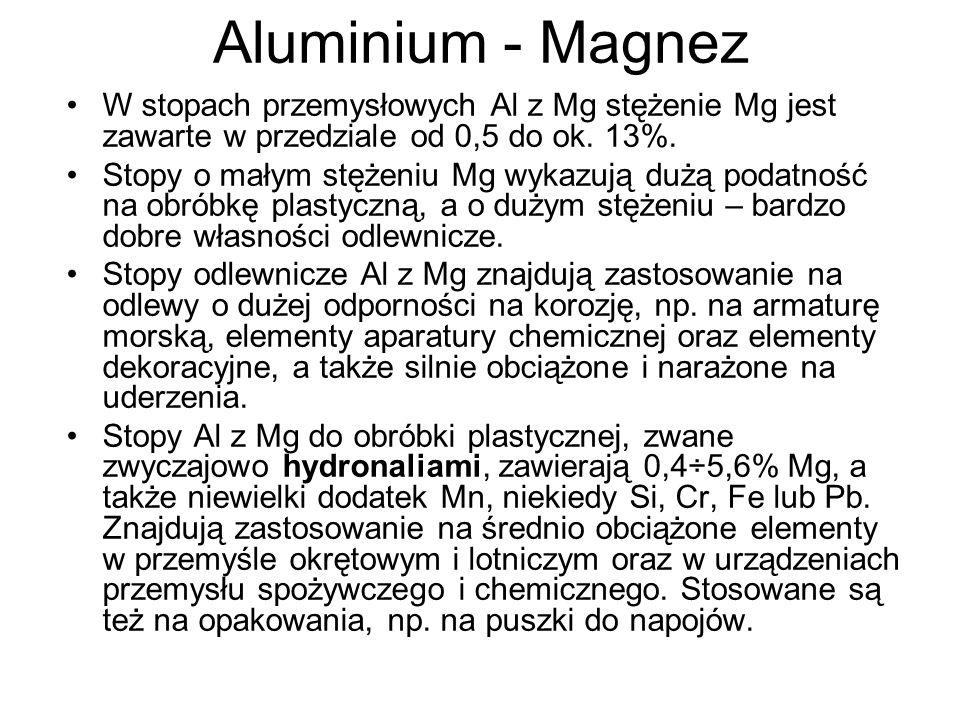 Aluminium - Magnez W stopach przemysłowych Al z Mg stężenie Mg jest zawarte w przedziale od 0,5 do ok. 13%. Stopy o małym stężeniu Mg wykazują dużą po