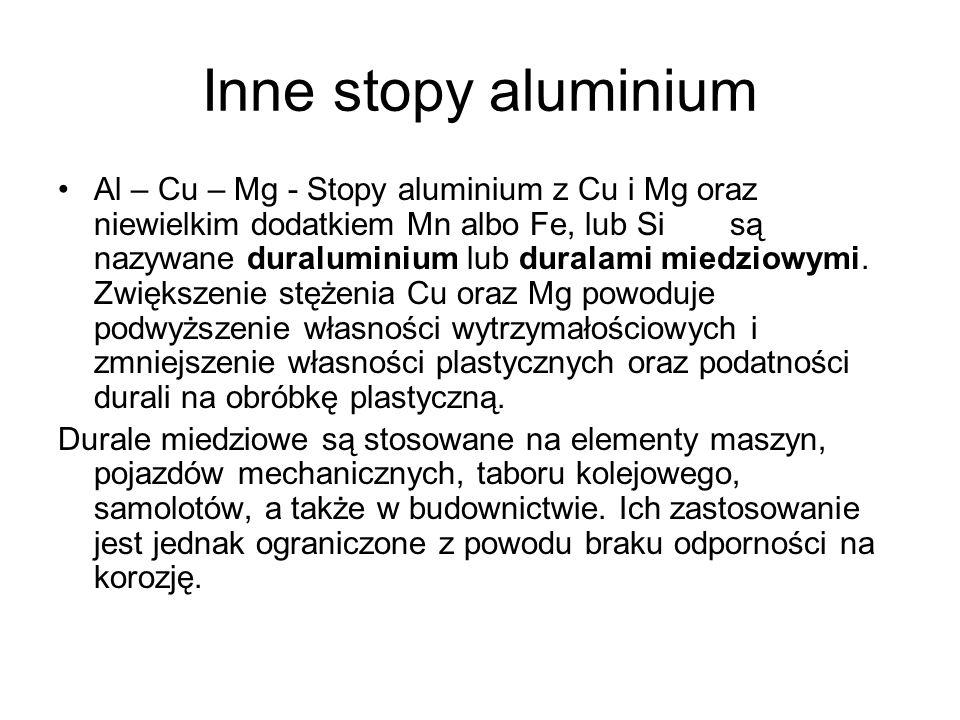 Inne stopy aluminium Al – Cu – Mg - Stopy aluminium z Cu i Mg oraz niewielkim dodatkiem Mn albo Fe, lub Si są nazywane duraluminium lub duralami miedz