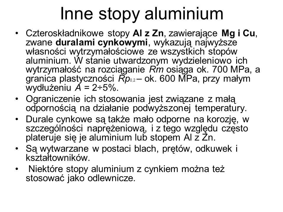 Czteroskładnikowe stopy Al z Zn, zawierające Mg i Cu, zwane duralami cynkowymi, wykazują najwyższe własności wytrzymałościowe ze wszystkich stopów alu