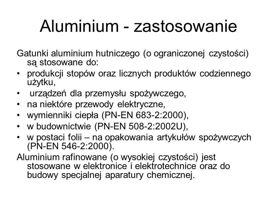 Aluminium - zastosowanie Gatunki aluminium hutniczego (o ograniczonej czystości) są stosowane do: produkcji stopów oraz licznych produktów codziennego
