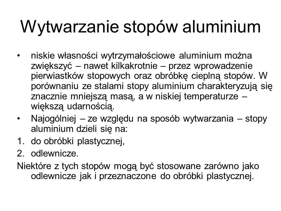 Wytwarzanie stopów aluminium niskie własności wytrzymałościowe aluminium można zwiększyć – nawet kilkakrotnie – przez wprowadzenie pierwiastków stopow