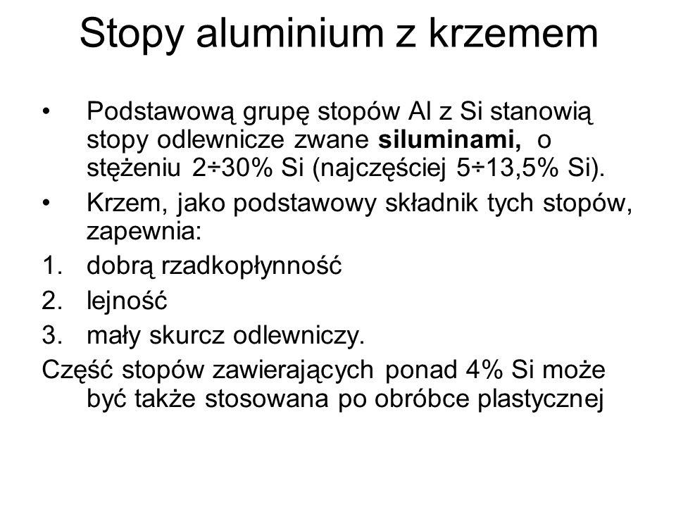 Podstawową grupę stopów Al z Si stanowią stopy odlewnicze zwane siluminami, o stężeniu 2÷30% Si (najczęściej 5÷13,5% Si). Krzem, jako podstawowy skład
