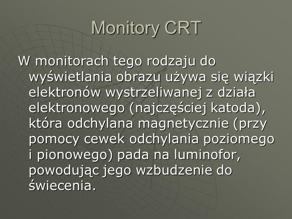 Monitory CRT W monitorach tego rodzaju do wyświetlania obrazu używa się wiązki elektronów wystrzeliwanej z działa elektronowego (najczęściej katoda), która odchylana magnetycznie (przy pomocy cewek odchylania poziomego i pionowego) pada na luminofor, powodując jego wzbudzenie do świecenia.