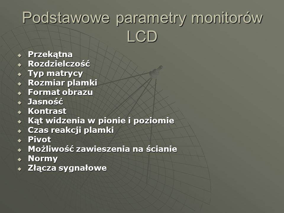 Podstawowe parametry monitorów LCD Przekątna Przekątna Rozdzielczość Rozdzielczość Typ matrycy Typ matrycy Rozmiar plamki Rozmiar plamki Format obrazu Format obrazu Jasność Jasność Kontrast Kontrast Kąt widzenia w pionie i poziomie Kąt widzenia w pionie i poziomie Czas reakcji plamki Czas reakcji plamki Pivot Pivot Możliwość zawieszenia na ścianie Możliwość zawieszenia na ścianie Normy Normy Złącza sygnałowe Złącza sygnałowe