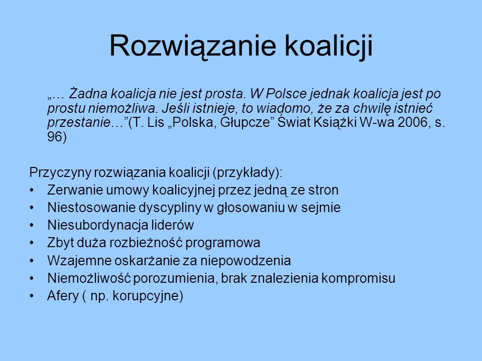 Rozwiązanie koalicji … Żadna koalicja nie jest prosta. W Polsce jednak koalicja jest po prostu niemożliwa. Jeśli istnieje, to wiadomo, że za chwilę is