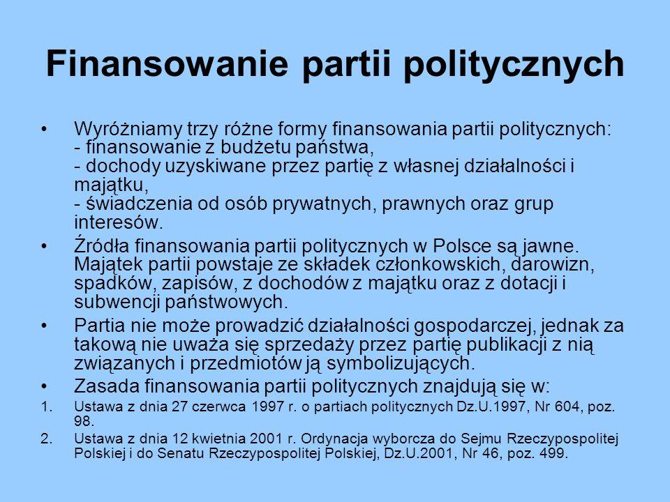 Finansowanie partii politycznych Wyróżniamy trzy różne formy finansowania partii politycznych: - finansowanie z budżetu państwa, - dochody uzyskiwane