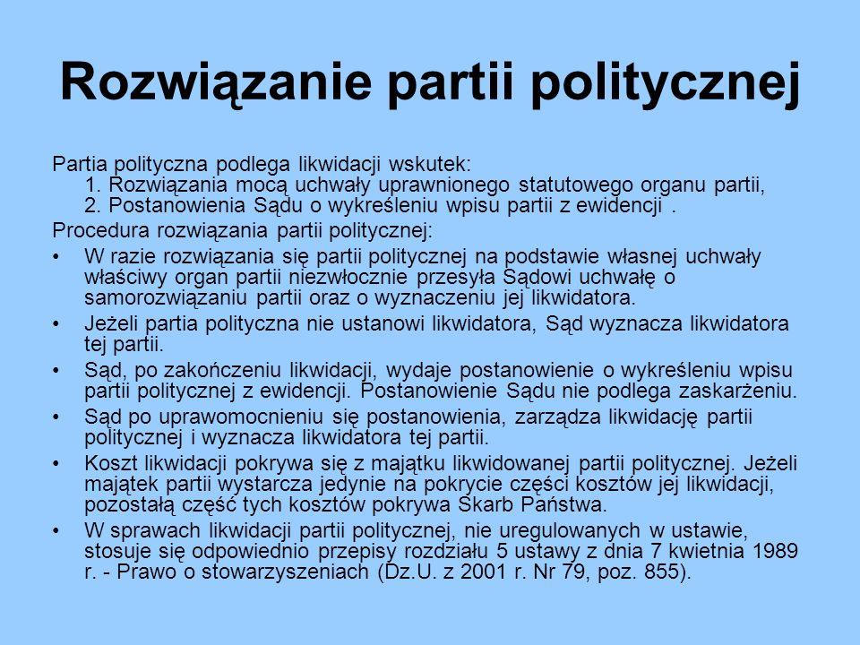 Rozwiązanie partii politycznej Partia polityczna podlega likwidacji wskutek: 1. Rozwiązania mocą uchwały uprawnionego statutowego organu partii, 2. Po