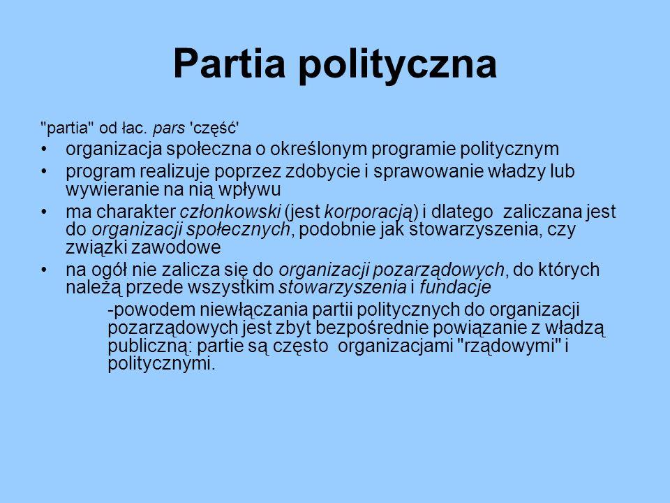 Finansowanie partii politycznych Wyróżniamy trzy różne formy finansowania partii politycznych: - finansowanie z budżetu państwa, - dochody uzyskiwane przez partię z własnej działalności i majątku, - świadczenia od osób prywatnych, prawnych oraz grup interesów.