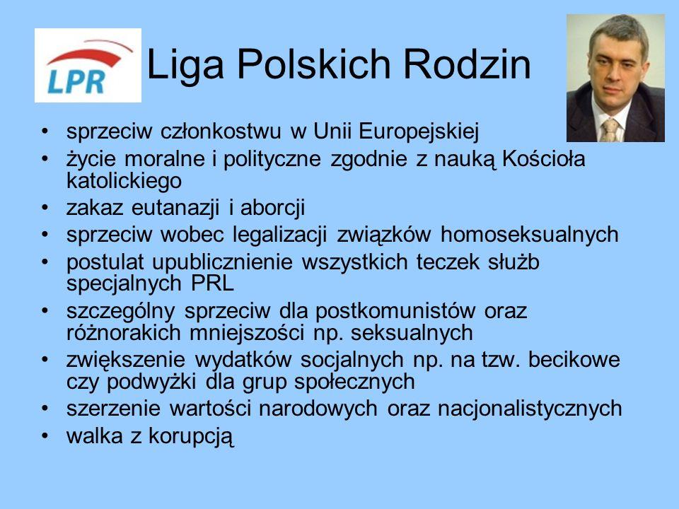 Liga Polskich Rodzin sprzeciw członkostwu w Unii Europejskiej życie moralne i polityczne zgodnie z nauką Kościoła katolickiego zakaz eutanazji i aborc