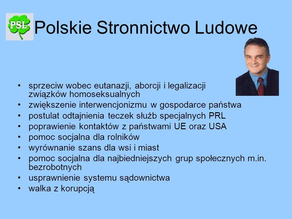 Polskie Stronnictwo Ludowe sprzeciw wobec eutanazji, aborcji i legalizacji związków homoseksualnych zwiększenie interwencjonizmu w gospodarce państwa