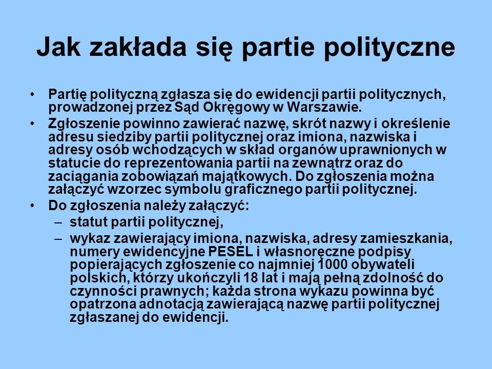 Jak zakłada się partie polityczne Partię polityczną zgłasza się do ewidencji partii politycznych, prowadzonej przez Sąd Okręgowy w Warszawie. Zgłoszen