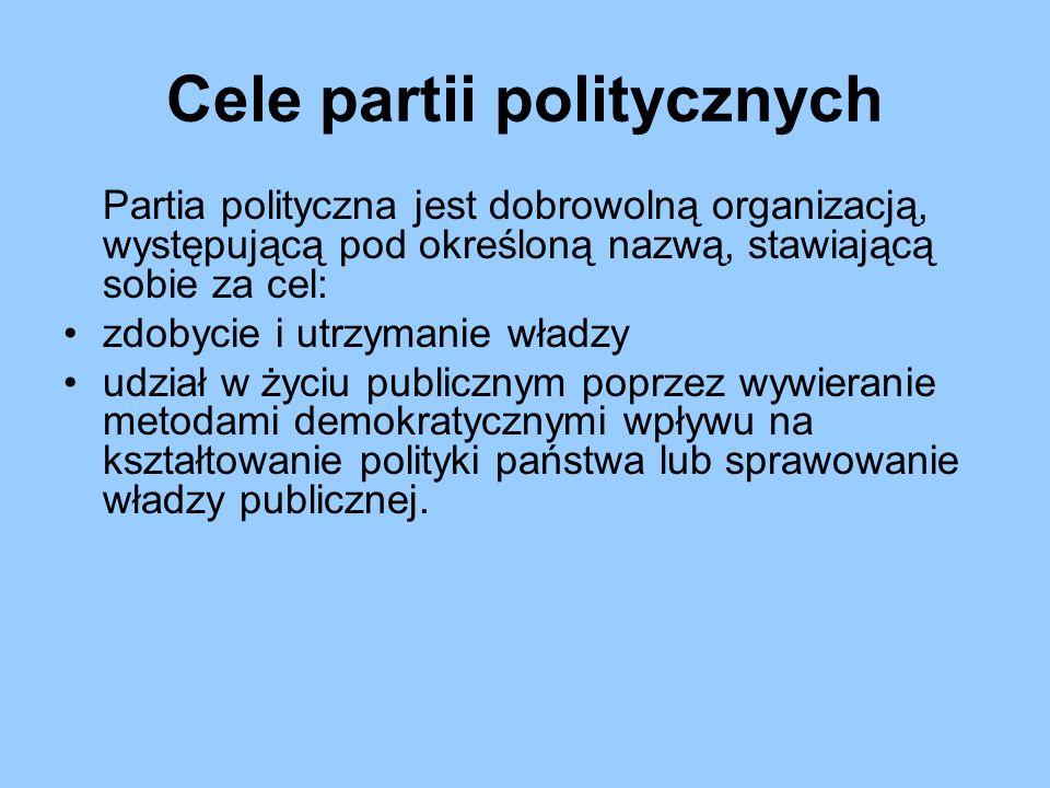 Struktury partii politycznych partie masowe – skupiające dużą liczbę osób, z której wyłaniają się elity partyjne (częściej spotykana forma wśród partii lewicowych) partie kadrowe – o nielicznej grupie wyspecjalizowanych członków (częściej partie prawicowe) partie komitetowe – pełniące rolę komitetu wyborczego (klasyczne przykłady to amerykańskie partie: Demokratyczna i Republikańska; w Polsce zbliżoną strukturę ma Platforma Obywatelska)