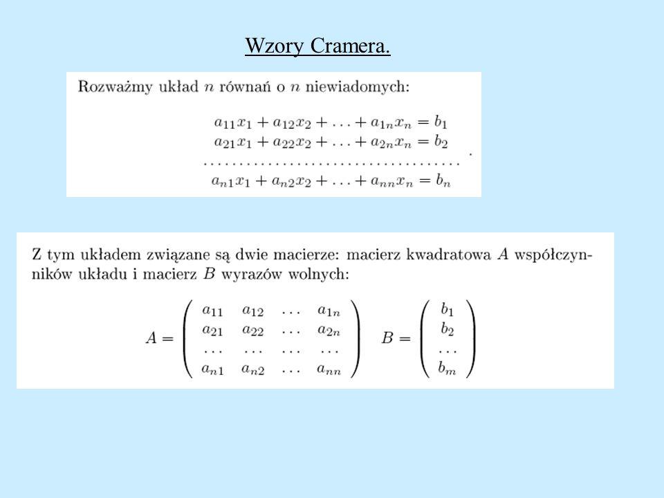 Wzory Cramera.