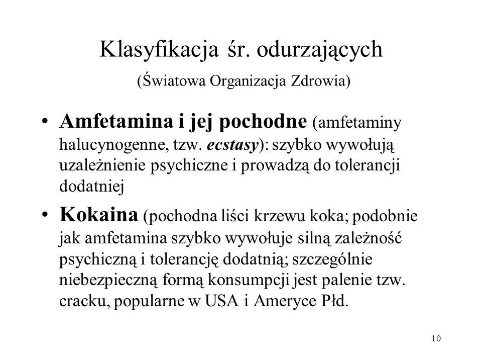 10 Klasyfikacja śr. odurzających (Światowa Organizacja Zdrowia) Amfetamina i jej pochodne (amfetaminy halucynogenne, tzw. ecstasy): szybko wywołują uz