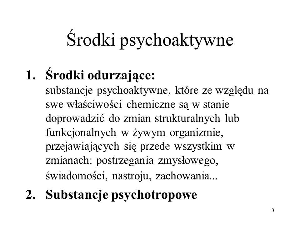 3 Środki psychoaktywne 1.Środki odurzające: substancje psychoaktywne, które ze względu na swe właściwości chemiczne są w stanie doprowadzić do zmian s