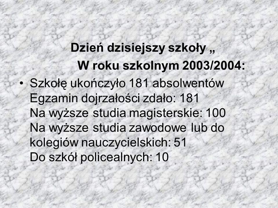 Dzień dzisiejszy szkoły W roku szkolnym 2003/2004: Szkołę ukończyło 181 absolwentów Egzamin dojrzałości zdało: 181 Na wyższe studia magisterskie: 100