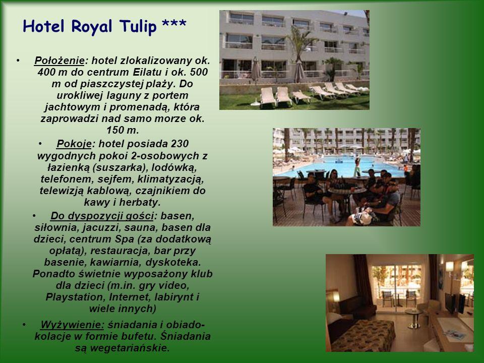 Hotel Royal Tulip *** Położenie: hotel zlokalizowany ok. 400 m do centrum Eilatu i ok. 500 m od piaszczystej plaży. Do urokliwej laguny z portem jacht