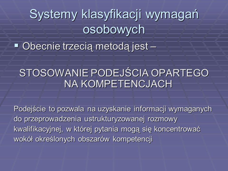 Systemy klasyfikacji wymagań osobowych Obecnie trzecią metodą jest – Obecnie trzecią metodą jest – STOSOWANIE PODEJŚCIA OPARTEGO NA KOMPETENCJACH Pode