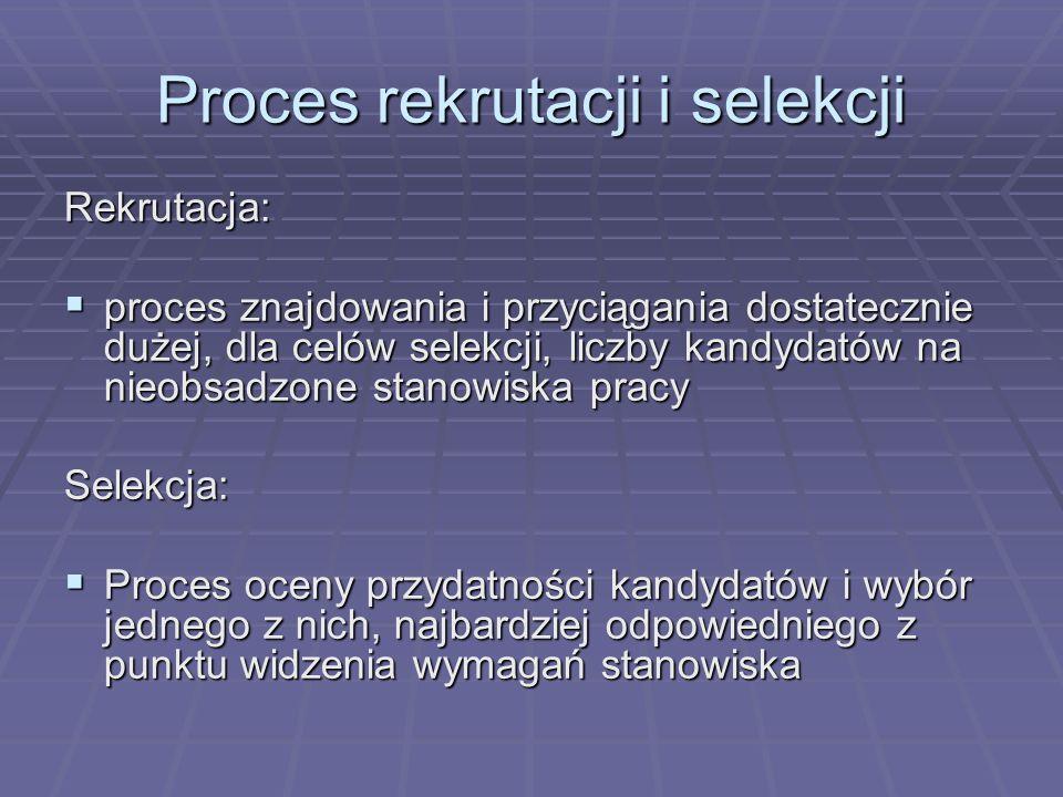 Proces rekrutacji i selekcji Rekrutacja: proces znajdowania i przyciągania dostatecznie dużej, dla celów selekcji, liczby kandydatów na nieobsadzone s