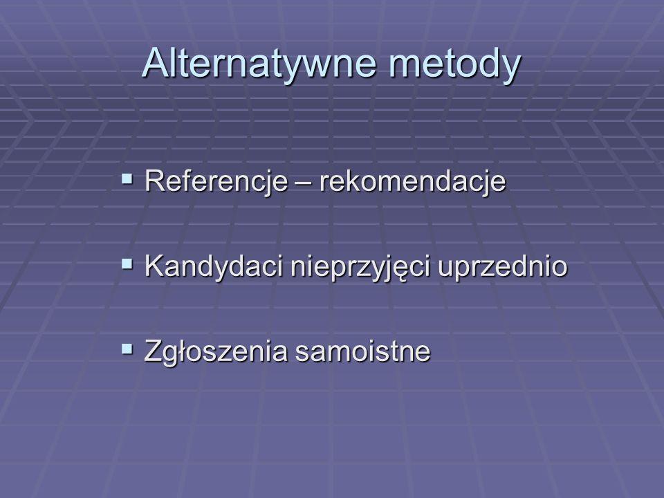 Alternatywne metody Referencje – rekomendacje Referencje – rekomendacje Kandydaci nieprzyjęci uprzednio Kandydaci nieprzyjęci uprzednio Zgłoszenia sam