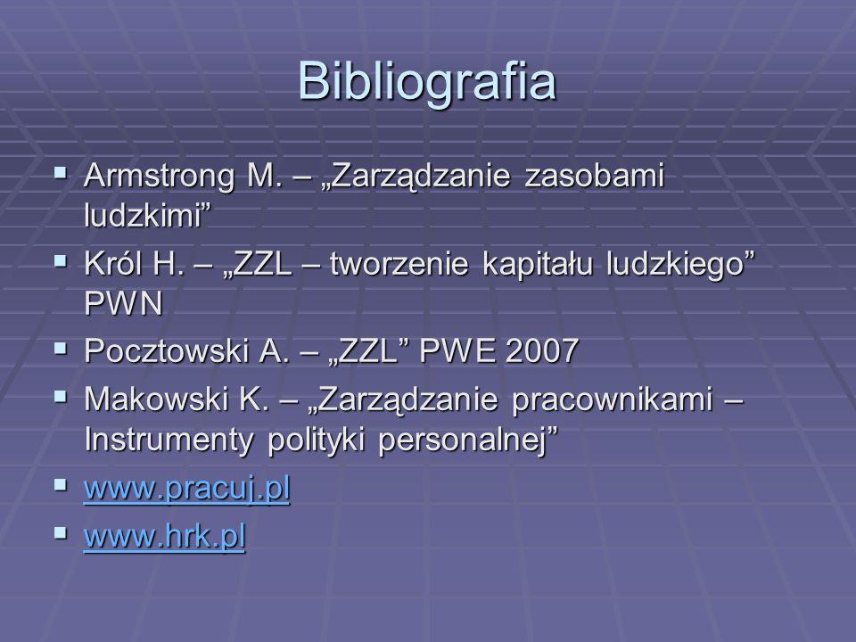 Bibliografia Armstrong M. – Zarządzanie zasobami ludzkimi Armstrong M. – Zarządzanie zasobami ludzkimi Król H. – ZZL – tworzenie kapitału ludzkiego PW