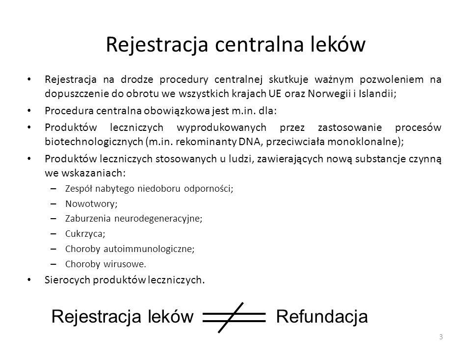 Rejestracja centralna leków Rejestracja na drodze procedury centralnej skutkuje ważnym pozwoleniem na dopuszczenie do obrotu we wszystkich krajach UE