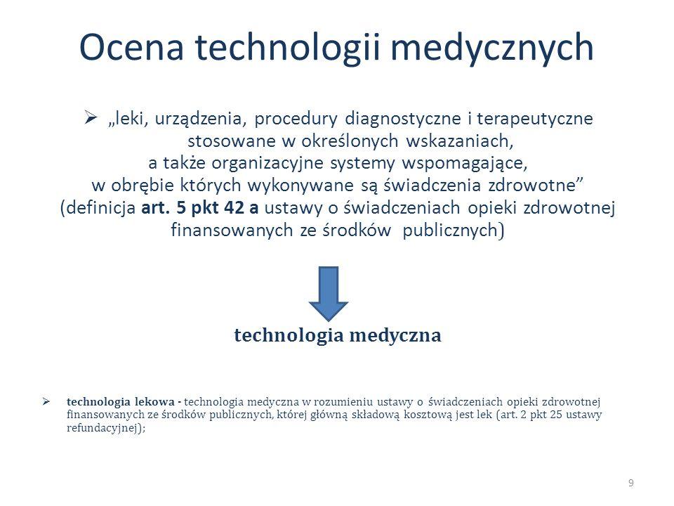 leki, urządzenia, procedury diagnostyczne i terapeutyczne stosowane w określonych wskazaniach, a także organizacyjne systemy wspomagające, w obrębie k