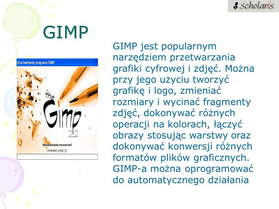 GIMP GIMP jest popularnym narzędziem przetwarzania grafiki cyfrowej i zdjęć. Można przy jego użyciu tworzyć grafikę i logo, zmieniać rozmiary i wycina