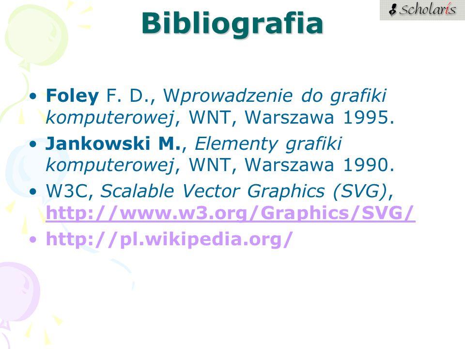 Bibliografia Foley F. D., Wprowadzenie do grafiki komputerowej, WNT, Warszawa 1995. Jankowski M., Elementy grafiki komputerowej, WNT, Warszawa 1990. W