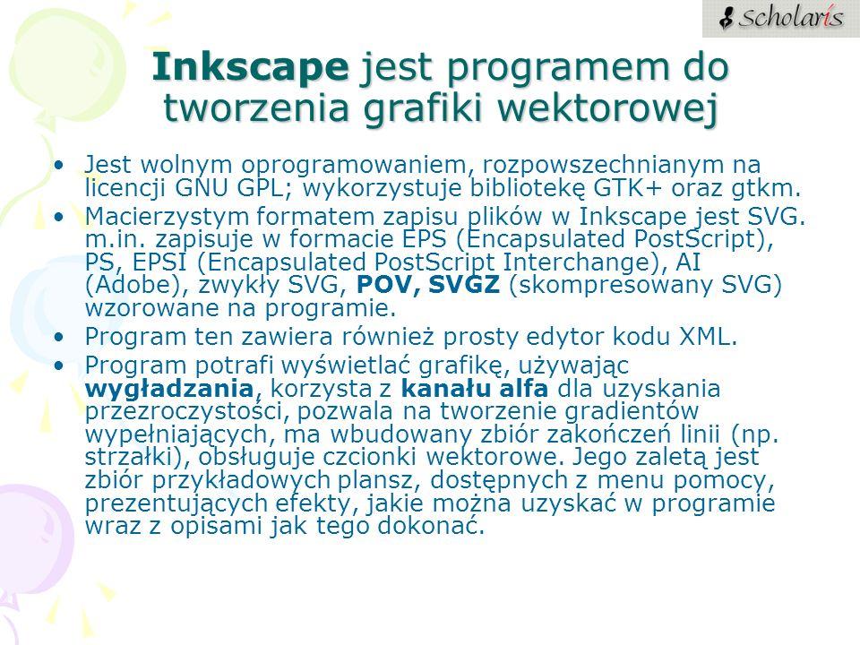 Inkscape jest programem do tworzenia grafiki wektorowej Jest wolnym oprogramowaniem, rozpowszechnianym na licencji GNU GPL; wykorzystuje bibliotekę GT