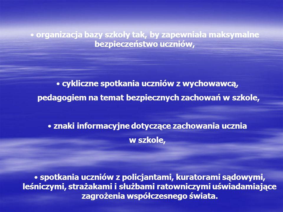 organizacja bazy szkoły tak, by zapewniała maksymalne bezpieczeństwo uczniów, cykliczne spotkania uczniów z wychowawcą, pedagogiem na temat bezpieczny