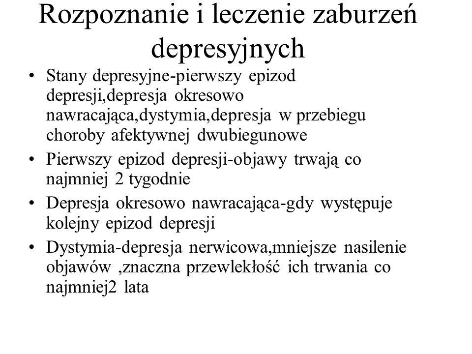 Rozpoznanie i leczenie zaburzeń depresyjnych Stany depresyjne-pierwszy epizod depresji,depresja okresowo nawracająca,dystymia,depresja w przebiegu choroby afektywnej dwubiegunowe Pierwszy epizod depresji-objawy trwają co najmniej 2 tygodnie Depresja okresowo nawracająca-gdy występuje kolejny epizod depresji Dystymia-depresja nerwicowa,mniejsze nasilenie objawów,znaczna przewlekłość ich trwania co najmniej2 lata