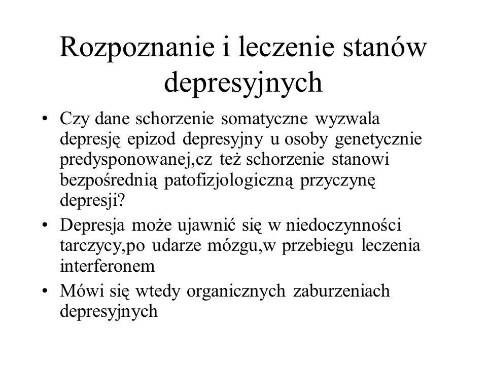 Rozpoznanie i leczenie stanów depresyjnych Czy dane schorzenie somatyczne wyzwala depresję epizod depresyjny u osoby genetycznie predysponowanej,cz te