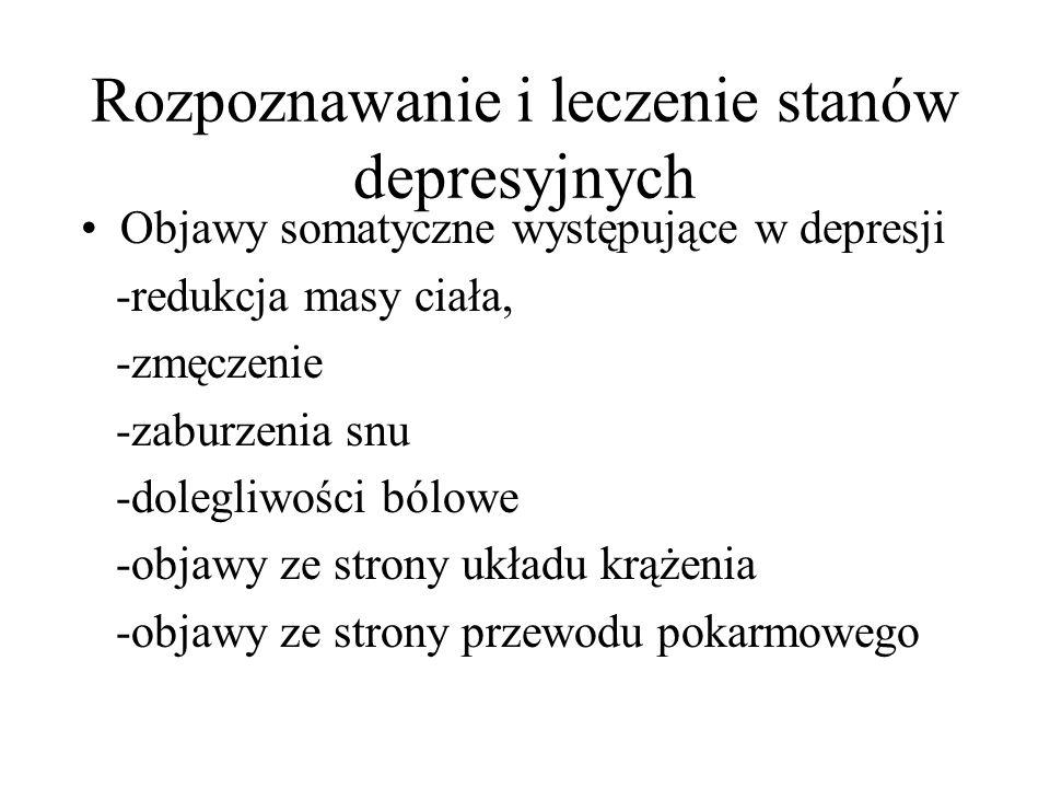 Rozpoznawanie i leczenie stanów depresyjnych Objawy somatyczne występujące w depresji -redukcja masy ciała, -zmęczenie -zaburzenia snu -dolegliwości b