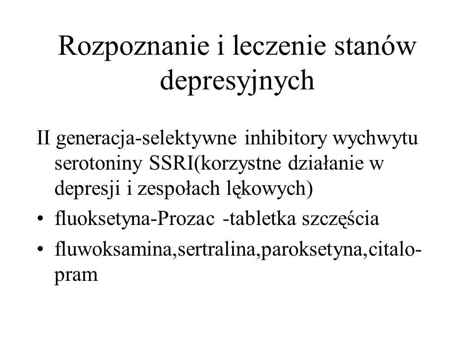 Rozpoznanie i leczenie stanów depresyjnych II generacja-selektywne inhibitory wychwytu serotoniny SSRI(korzystne działanie w depresji i zespołach lęko