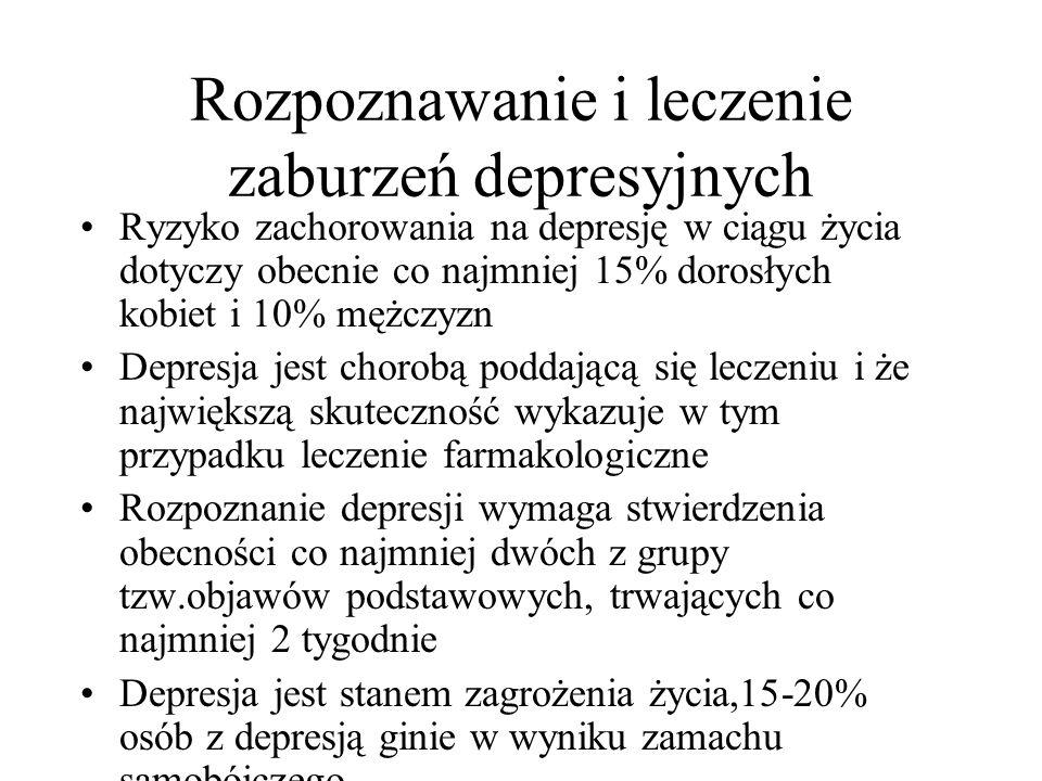 Rozpoznawanie i leczenie zaburzeń depresyjnych Ryzyko zachorowania na depresję w ciągu życia dotyczy obecnie co najmniej 15% dorosłych kobiet i 10% mężczyzn Depresja jest chorobą poddającą się leczeniu i że największą skuteczność wykazuje w tym przypadku leczenie farmakologiczne Rozpoznanie depresji wymaga stwierdzenia obecności co najmniej dwóch z grupy tzw.objawów podstawowych, trwających co najmniej 2 tygodnie Depresja jest stanem zagrożenia życia,15-20% osób z depresją ginie w wyniku zamachu samobójczego
