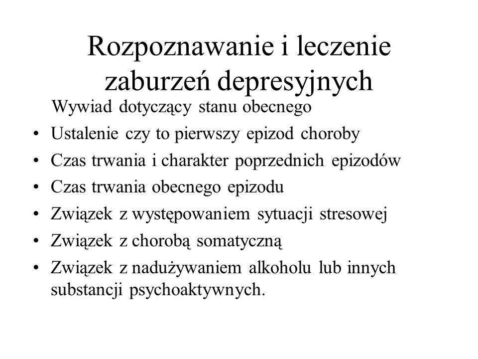 Rozpoznawanie i leczenie zaburzeń depresyjnych Występowanie choroby psychicznej,zaburzeń nerwicowych Nadużywanie alkoholu