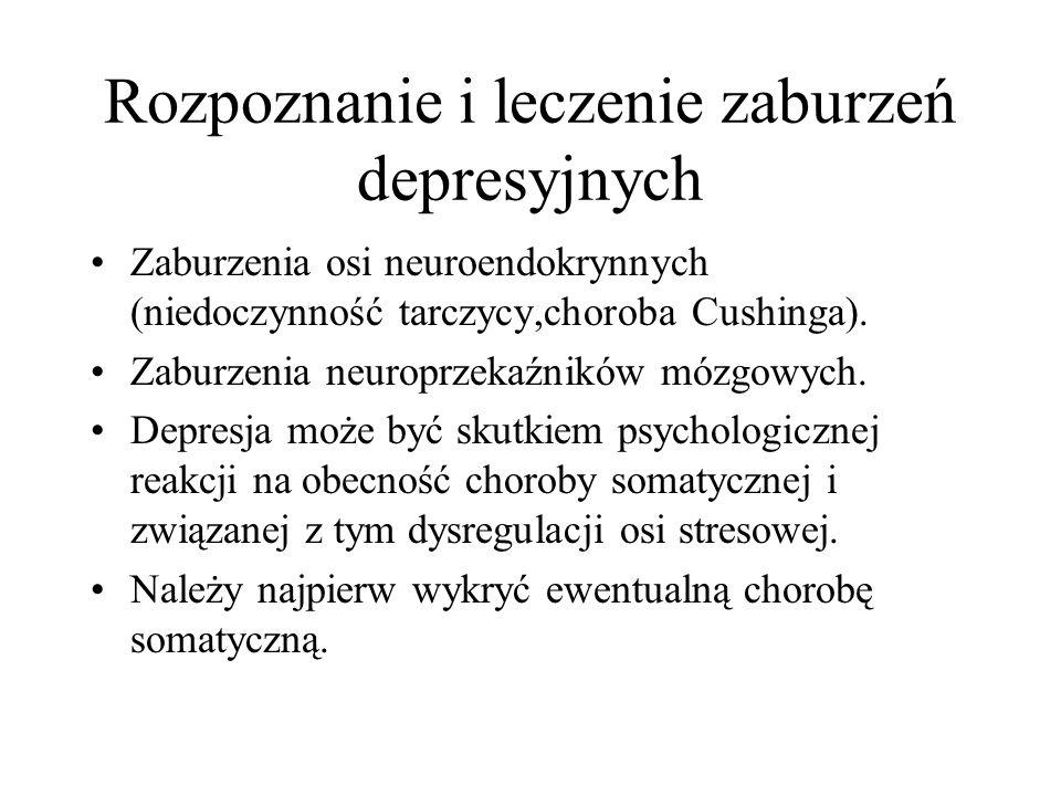 Rozpoznanie i leczenie zaburzeń depresyjnych Zaburzenia osi neuroendokrynnych (niedoczynność tarczycy,choroba Cushinga). Zaburzenia neuroprzekaźników