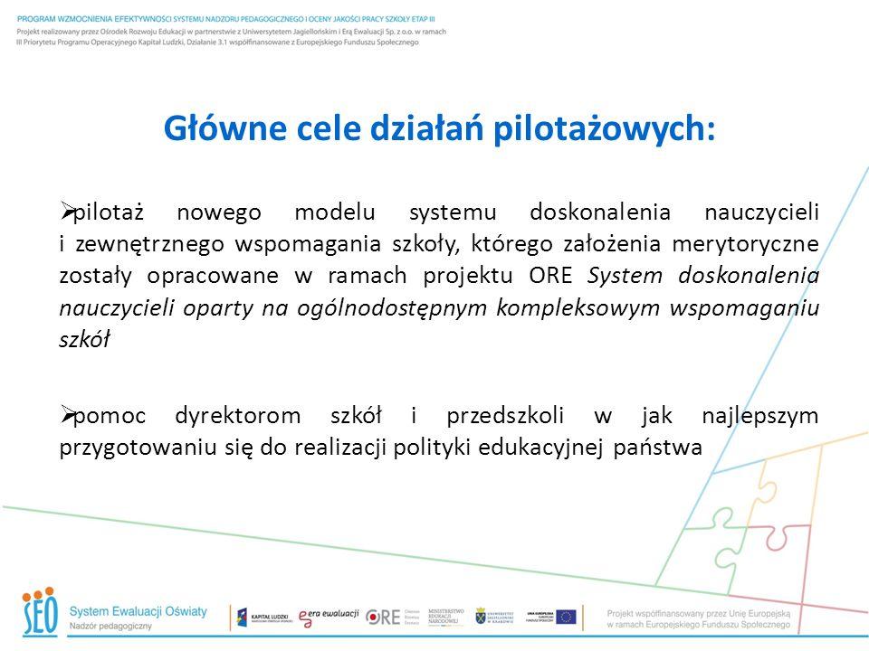Główne cele działań pilotażowych: pilotaż nowego modelu systemu doskonalenia nauczycieli i zewnętrznego wspomagania szkoły, którego założenia merytory