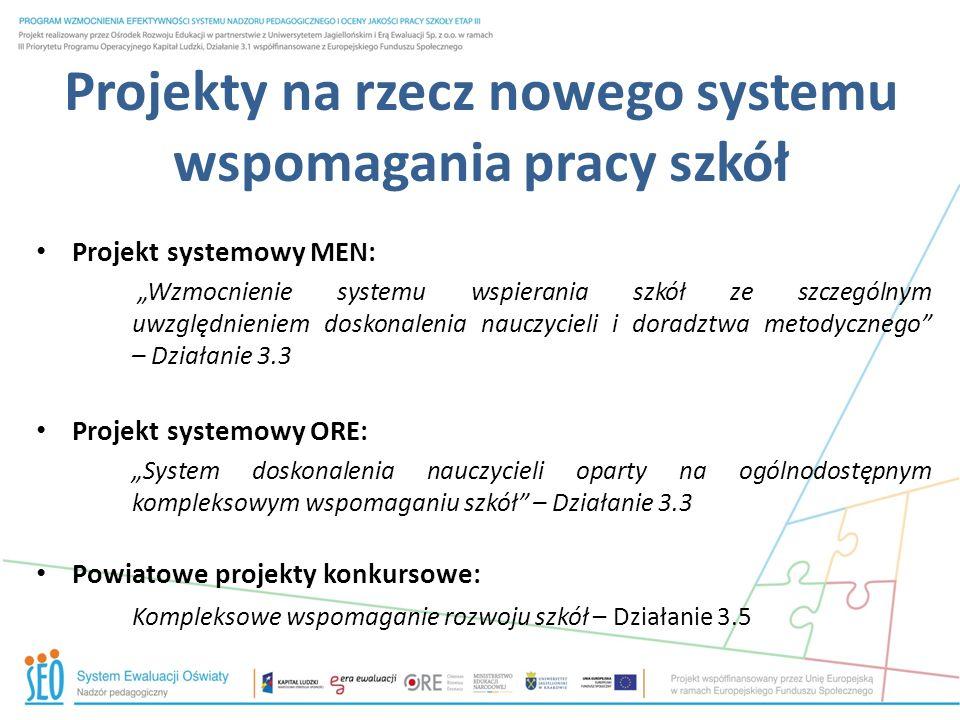 Projekty na rzecz nowego systemu wspomagania pracy szkół Projekt systemowy MEN: Wzmocnienie systemu wspierania szkół ze szczególnym uwzględnieniem dos