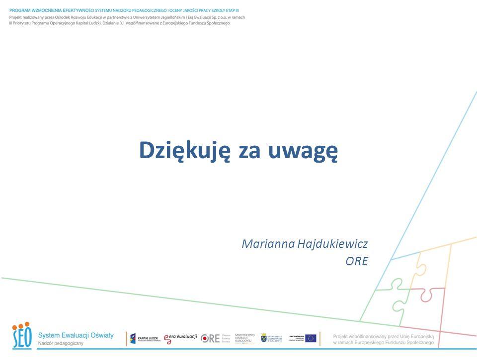 Dziękuję za uwagę Marianna Hajdukiewicz ORE