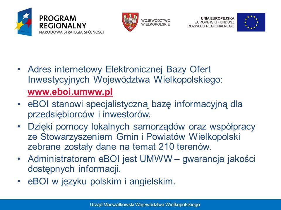 Aktualizacja eBOI: Informacje zawarte w Bazie będą stale aktualizowane w celu zapewnienia potencjalnym inwestorom najbardziej aktualnych danych o regionie.