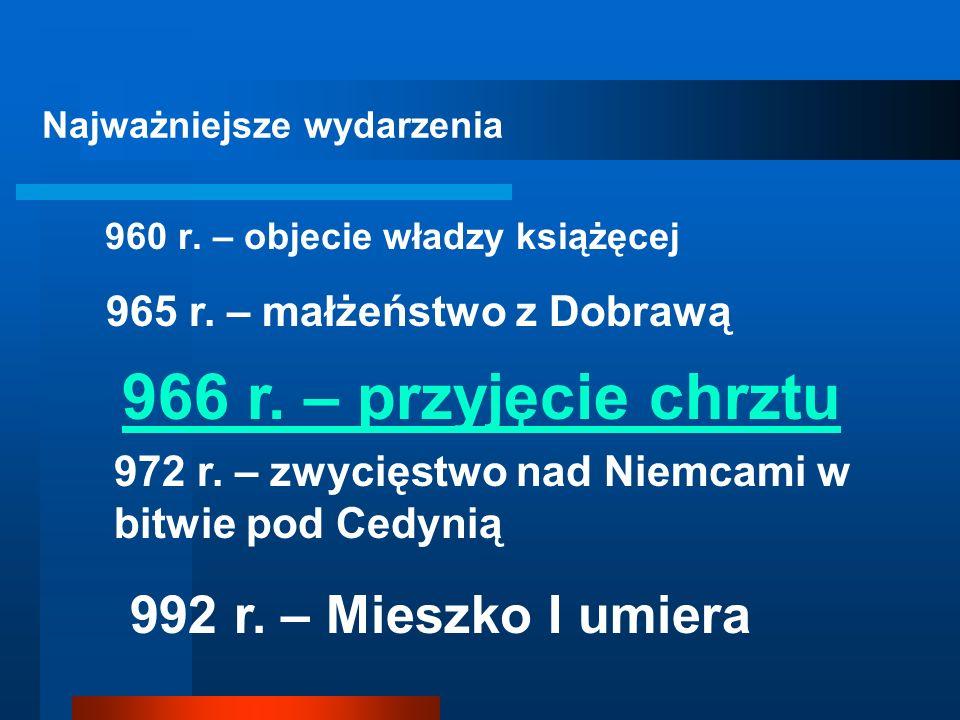 KORZYŚCI DLA POLSKI WYNIKAJĄCE Z PRZYJĘCIA CHRZESCIJAŃSTWA: 1. Niemcy tracą pretekst do najazdów na Polskę. 2. Polska dostaje się pod bezpośrednią opi