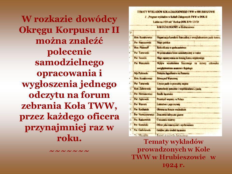 Tematy wykładów prowadzonych w Kole TWW w Hrubieszowie w 1924 r. W rozkazie dowódcy Okręgu Korpusu nr II można znaleźć polecenie samodzielnego opracow
