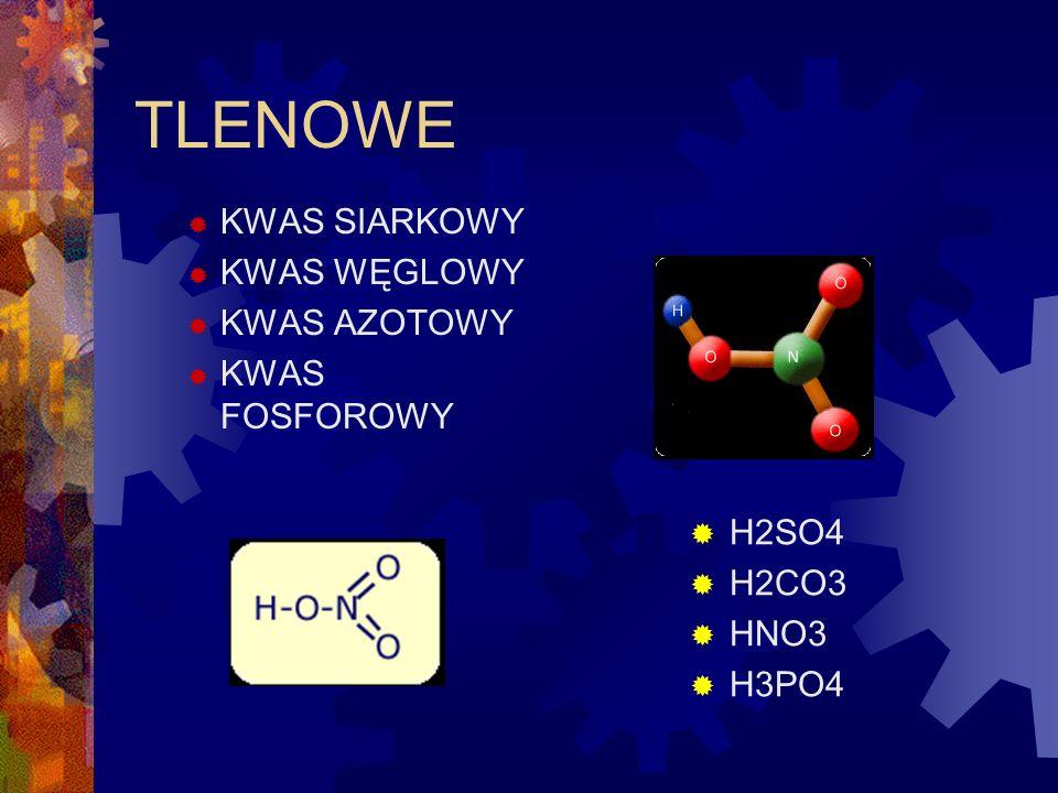 TLENOWE KWAS SIARKOWY KWAS WĘGLOWY KWAS AZOTOWY KWAS FOSFOROWY H2SO4 H2CO3 HNO3 H3PO4