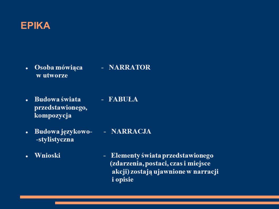 EPIKA Osoba mówiąca - NARRATOR w utworze Budowa świata - FABUŁA przedstawionego, kompozycja Budowa językowo- - NARRACJA -stylistyczna Wnioski - Elemen