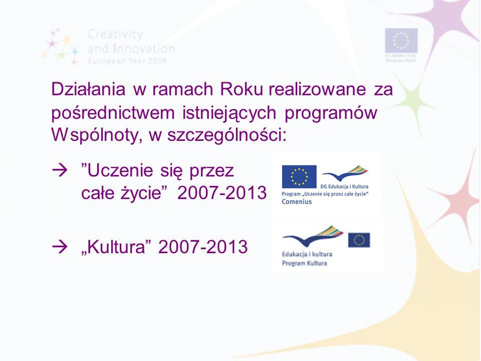Działania w ramach Roku realizowane za pośrednictwem istniejących programów Wspólnoty, w szczególności: Uczenie się przez całe życie 2007-2013 Kultura