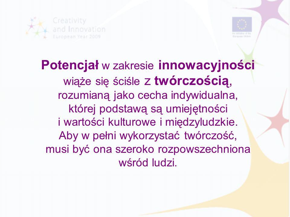 Potencjał w zakresie innowacyjności wiąże się ściśle z twórczością, rozumianą jako cecha indywidualna, której podstawą są umiejętności i wartości kult